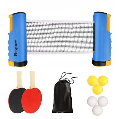 Table Tennis Set Kit Ping Pong Portable Retractable Net Games Rackets + 3 Balls • 11.59£