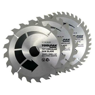 Toolpak 180mm X 30mm Bore X 20/24/40 Tooth 3 Pack Circular Saw Blades, BY180-30 • 16.95£
