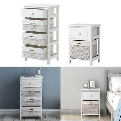 White Storage Unit With Baskets Chest Of Wicker Drawers Room Shelf Cabinet • 59.99£