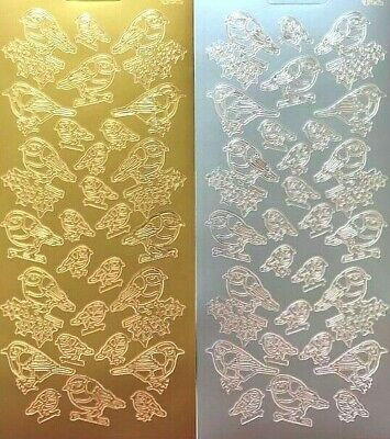 £1.57 • Buy Christmas Robins Birds Peel Off Stickers Gold & Silver Card Making Crafts