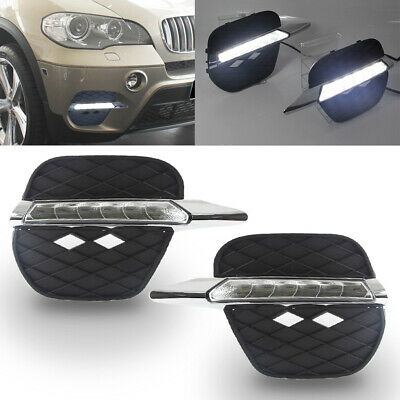 $ CDN113.80 • Buy Pair FOR 11-14 BMW X5 E70 FRONT BUMPER FOG GRILL LED DRL DAY TIME RUNNING LIGHTS
