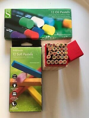 Art Supplies - 12 Oil Pastels (new), Colouring Pencils (new) & 12 Soft Pastels • 9.99£