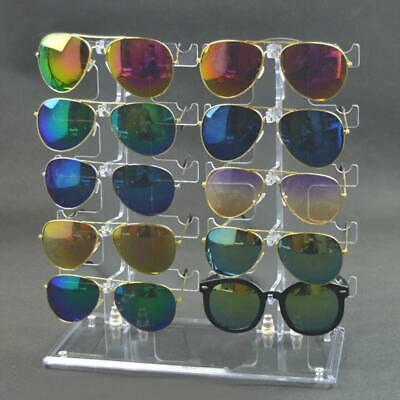 Two Row Sunglasses Rack 10 Pairs Glasses Holder Display Stand Transparent • 10.27£