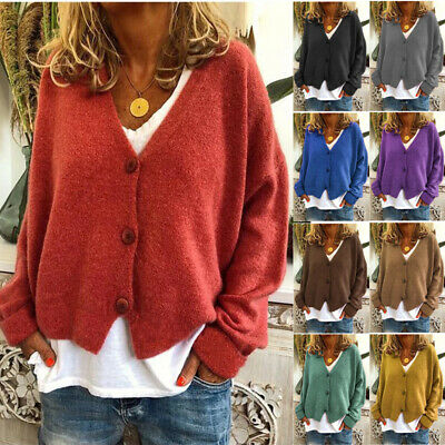 Womens Plain Knitted Coat Cardigan Ladies Button Loose Jumpers Sweater Plus Size • 12.59£