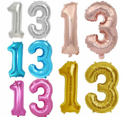 £3.99 • Buy 32''Giant 13th Birthday Party Number Foil Air Helium Balloons Banner Decor