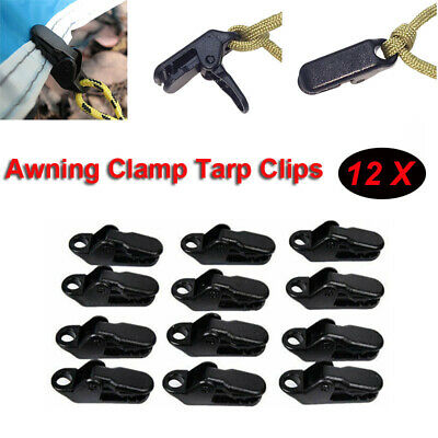 Camping Survival Tighten Tool  Awning Clamp Tarp Clips Snap Hangers Tent /12pcs • 2.99£