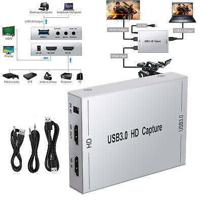 HD 1080P 60fps HDMI Video Capture Card USB 3.0 Mic Game Record Live Streaming • 60.99£