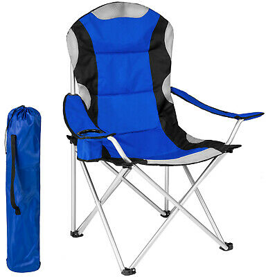 £45.25 • Buy Heavy Duty Padded Folding Camping Directors Chair With Cup Holder Portable Blue