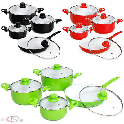 8 Piece Ceramic Cooking Pots Lids Pan Pot Saucepan Cookware Set New • 53.95£