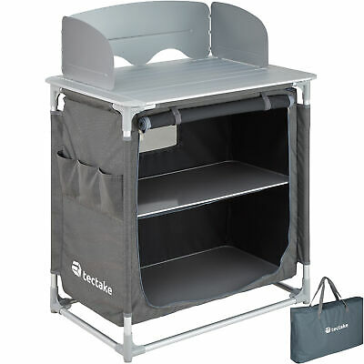 Camping Kitchen Stand Aluminium Storage Unit Portable Cooking Windshield Pop Up • 103.95£