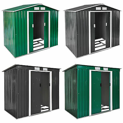 Garden Storage Shed Metal Pent Tool Shed House Galvanized Steel + Foundation  • 207.95£