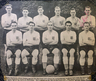 Signed 1950s England Team Group Les Phillips Roy Bentley Fulham Portsmouth FC • 11.99£
