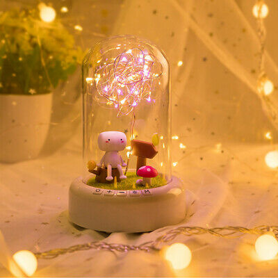 1 Pc Glass Dome Light Bedside Table Lamp Night Light For Bedroom • 16.32£
