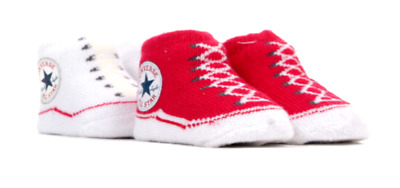 Converse All Star Baby Infant Booties Slip On Socks Gift Boxed 2 Pairs 0-6 Month • 12.95£