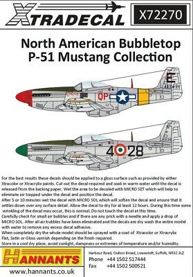 NEW 1:72 Xtradecal 72270 International North-American P-51D Mustang Bubbletops  • 8.99£