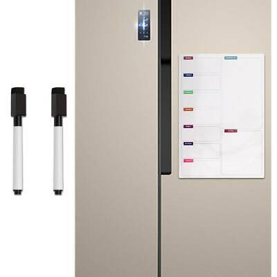 A3 Board Magnetic Memo Fridge Notice Weekly Family Meal Plan Whiteboard+2 Pens • 6.59£