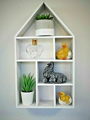 Hanging White Wooden House Shaped Shelf White Home Decor Display Unit Mounted  • 11.99£