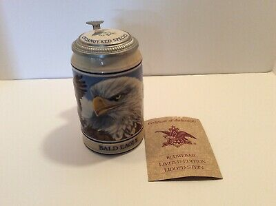 $ CDN26.67 • Buy Vintage Budweiser Bald Eagle Lidded Stein With Certificate Of Authenticity