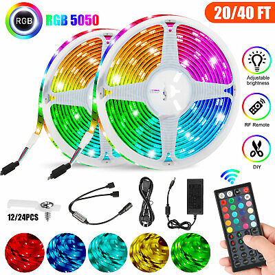 $20.98 • Buy 40/20ft Flexible Strip Light 5050 RGB LED SMD Remote Fairy Lights Room Party Bar