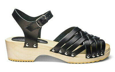 Heavenly Soles Black Italian Leather Sandals Standard D Fit - RRP £34.99- Ref 58 • 19.95£