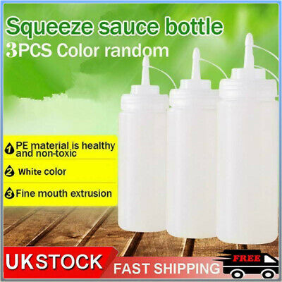 3 X Plastic Clear Squeeze Squeezy Sauce Bottle Mayo Dispenser Bottles UK Stock • 4.63£