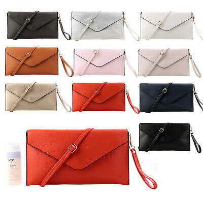 £8.49 • Buy Womens Large Envelope Clutch Evening Bag Oversized Wedding Prom With Long Strap