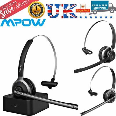 MPOW Car Bluetooth Headset Noise Cancelling Mic Headphones For PC Skype Trucker • 20.39£
