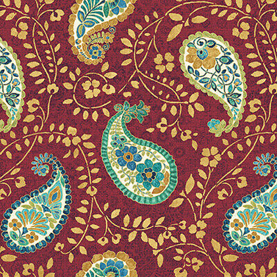 Peacock Pavilion Red Paisley Fabric 100% Cotton 1/2m 45  Wide  • 7£