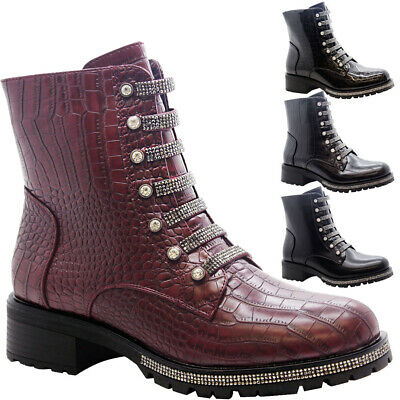 £27.95 • Buy Ladies Ankle Chelsea Diamante Boots Women Chunky Heels Goth Punk Shoes Size