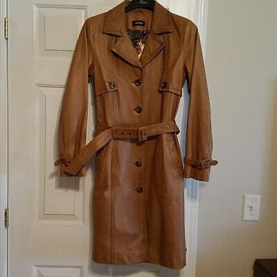 $ CDN157 • Buy Danier Trench Coat Leather Jacket Womens Size Small EUC Knee Length