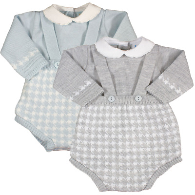 Baby Boy Spanish Style Knitted Braces Shorts Jumper Romper Suit Set Outfit • 14.99£