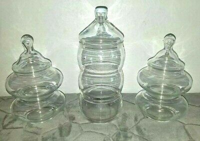 Vintage Glass Apothecary Jars Clear Candy, Wedding Buffet, Vanity Buffet Storage • 33.79£