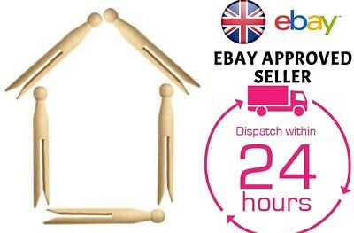 Traditional High Quality Natural Wooden Dolly Pegs Clothes Washing Line • 3.99£