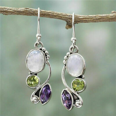 Silver Multi-gemstone Rainbow Moonstone&Peridot Dangle Hook Earrings Jewelry • 3.59£