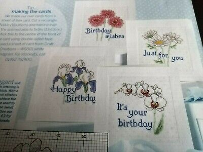 Cross Stitch Charts  4 Floral  Card Charts Only Orchid Daisy Iris Flowers • 2.50£