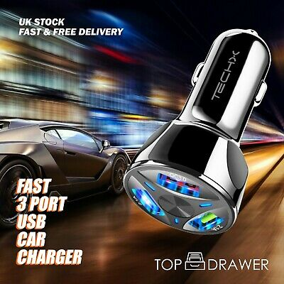 FAST CAR CHARGER 3 USB Port For Iphone Samsung Huawei Universal Socket Adapter • 4.99£