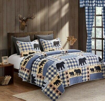 Primitive Bear Blue Country Buffalo Plaid Check 3p Quilt Set And/or 5pc Curtains • 21.42£