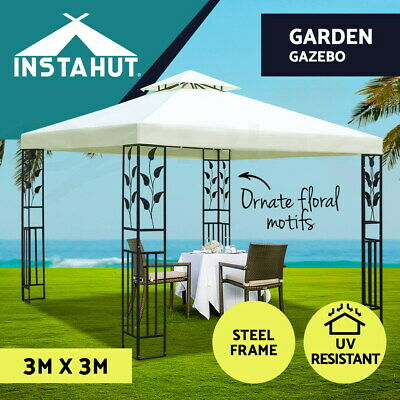 AU179.91 • Buy Instahut Gazebo 3x3 Party Marquee Outdoor Wedding Event Tent Iron Art Canopy