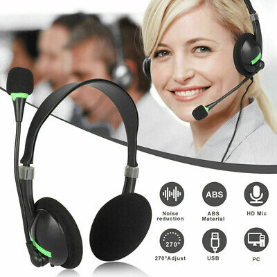 Stereo USB Headphones With Microphone Noise Cancelling Headset For Skype Laptop • 8.33£