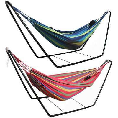 Camping Hammock Bed Outdoor Garden Patio Double Hanging Swing Chair +Steel Stand • 41.98£