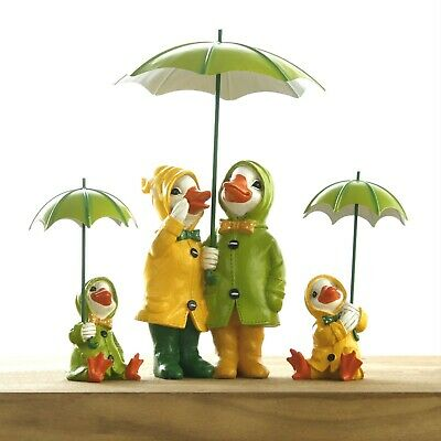 Ducks With Umbrellas Garden Ornaments Novelty Couple Sitting Statues Family Lawn • 7.99£