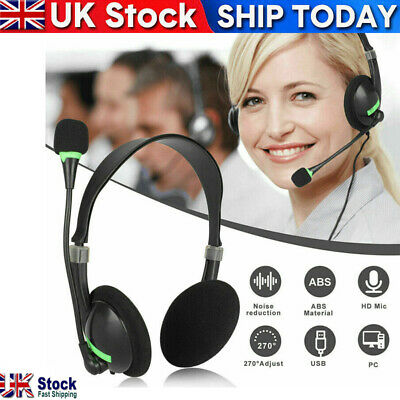 USB Headphones With Microphone Noise Cancelling Headset For Skype Laptop NEW • 8.39£