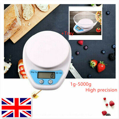 5kg Kitchen Scales Food Baking Weight Digital LCD Electronic Weighing W/ Bowl UK • 6.49£