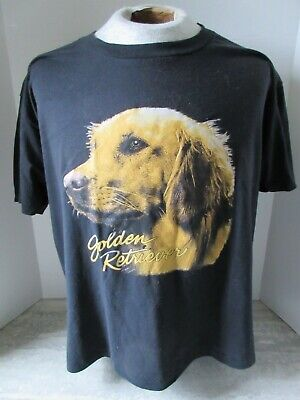 $ CDN9.89 • Buy Vintage Golden Retriever Dog Black T-shirt Made In Canada 50/50 Size Large