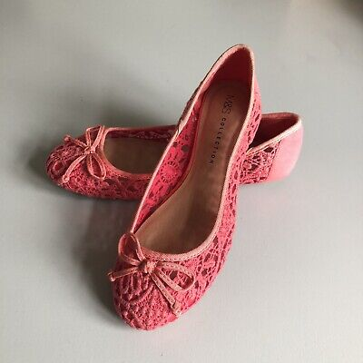 £10 • Buy M&S Hot Pink Lace Crotchet Flat Pumps With Front Bow (UK SIZE 3)