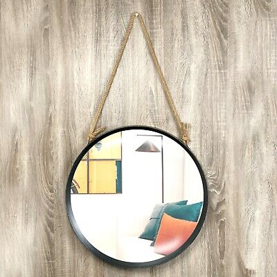 Large Contemporary Round Distressed Rope Hang Wall Glass Mirror Home Decor • 26.95£