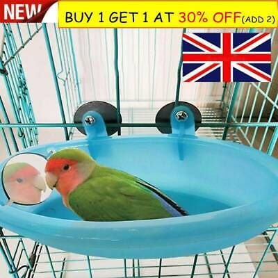 Mini Plastic Bird Cage Bath Basin With Mirror For Pets Bird Parrot Bathtub R3 UK • 4.99£
