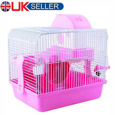 Hamster Cage Small Pet Running Ladder Plastic 2 Tier Castle Exercise Play House • 9.99£