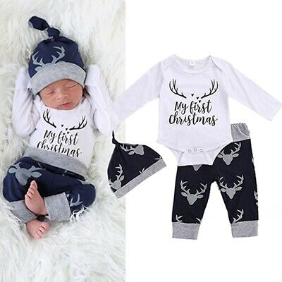 3PCS Newborn Baby Boy My First Christmas Romper Deer Pant Hat Christmas Outfits • 9.59£