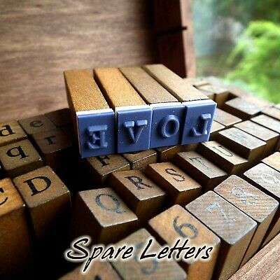 £1.49 • Buy Alphabet Rubber Stamp Wooden Box Vintage Style SPARE EXTRA Wood Letters Number